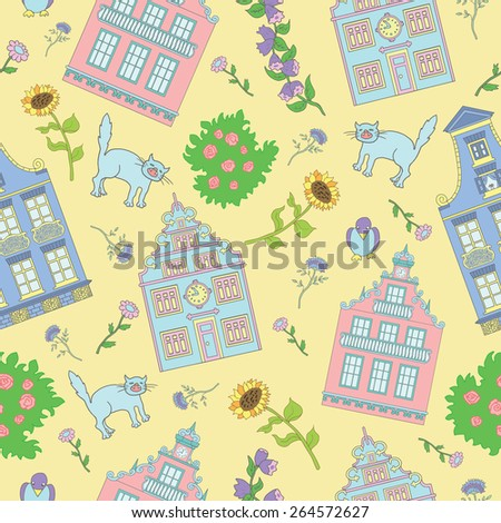 Seamless background with cute houses, flowers, pets and rose bushes on yellow background. Hand drawn illustration - stock vector