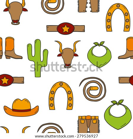 Seamless background with cute rodeo objects made in cartoon hand drawn style. Cowboy's pants, shoe, hat, horseshoe, lasso, cactus. You can use it for your western design. - stock vector