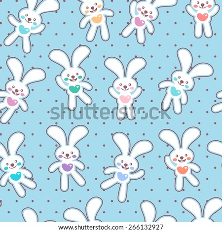 Seamless background with cute white bunnies - stock vector