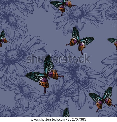 Seamless background with daisies and butterflies, hand-drawing. Vector illustration. - stock vector