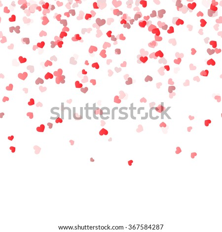 seamless background with different colored confetti hearts for valentine time - stock vector