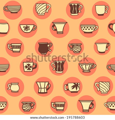 Seamless background with different cups. - stock vector