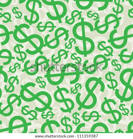 Seamless background with dollar signs - stock vector