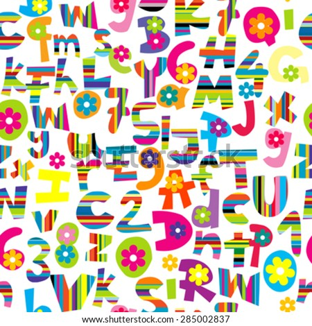 Seamless background with doodle letters and numbers - stock vector