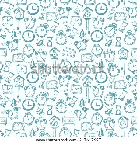 Seamless background with doodle sketch watches and other time symbols. Hand-drawn illustration.  - stock vector