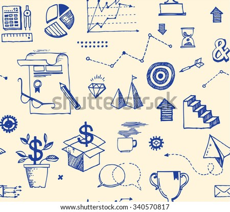 Seamless background with doodles of business symbols. - stock vector