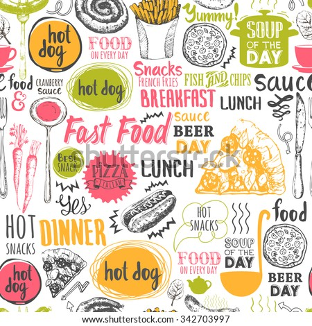 Seamless background with fastfood symbols. Menu pattern. Vector Illustration with funny food lettering and labels on white background. Decorative elements for your packing design. Multicolor decor. - stock vector
