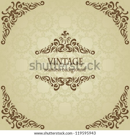 Seamless background with floral frame in retro style - stock vector
