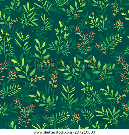 Seamless background with floral pattern of twigs, berries and leaves. Dark green background, glossy colors. Vector. - stock vector