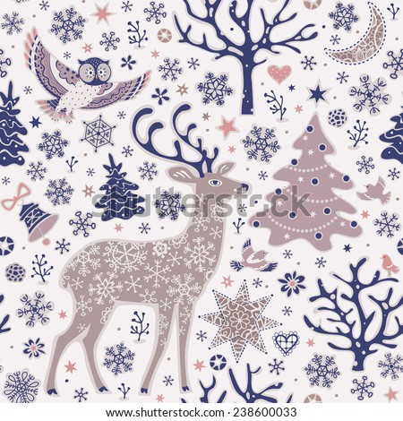 Seamless background with forest animals. Woodland Christmas pattern. Owl, deer, birds, trees, moon and snowflakes. - stock vector