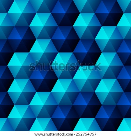 Seamless background with glossy relief blue hexagons - stock vector