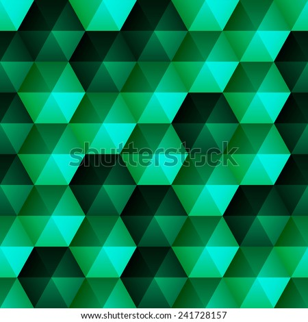 Seamless background with glossy relief emerald hexagons - stock vector