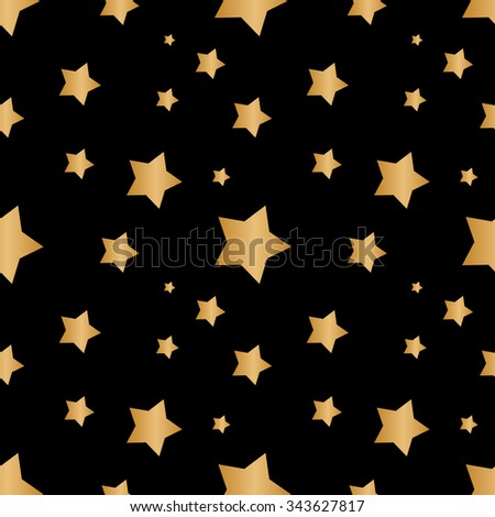 Seamless background with gold stars - stock vector