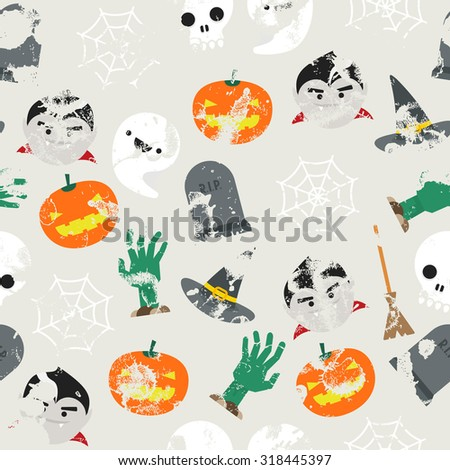 Seamless background with halloween pattern and grunge effect - stock vector