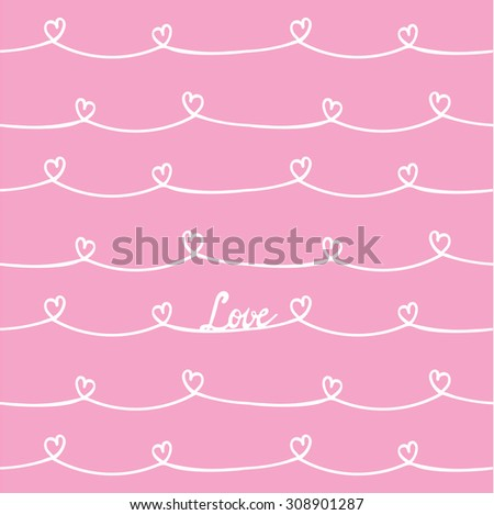 Seamless background with hand drawn heart pattern brush.  - stock vector