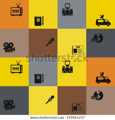 Seamless background with journalism icons for your design - stock vector