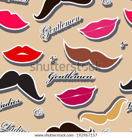 Seamless background with lips and mustache (ladies and gentlemen) - stock vector