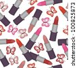 seamless background with lipsticks and butterflies - stock vector