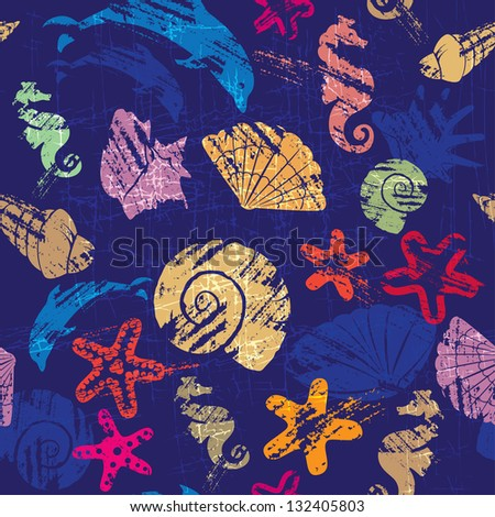 Seamless background with Marine life - pattern with shells, seahorses, dolphins, sea stars - stock vector