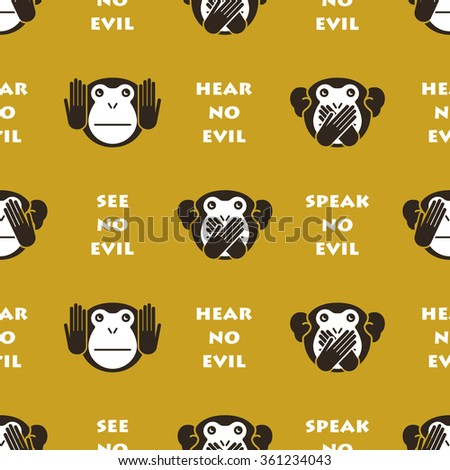 Seamless background with monkeys. Vector illustration - stock vector