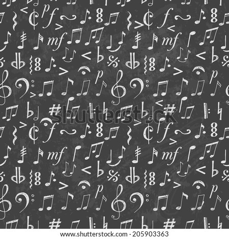 Seamless background with music notes and signs hand-drawn in sketchy style.  - stock vector