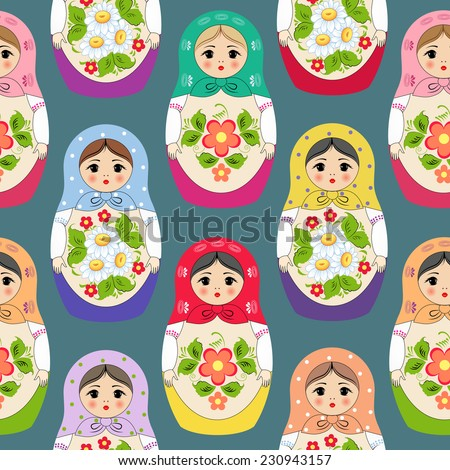 Seamless background with nested dolls. Vector illustration - stock vector