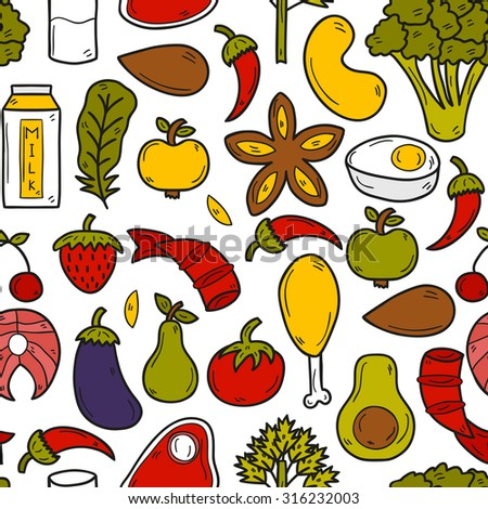 Seamless background with objects in hand drawn style on paleo diet theme: meat, fish, fruits, vegetables, spices, nuts. Healthy food concept for your design - stock vector