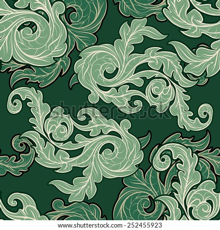 Seamless background with ornate leaves drawn in vintage style. - stock vector