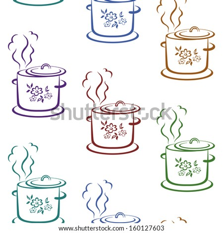 Seamless background with pictograms of kitchen pans with flower covers. Vector - stock vector