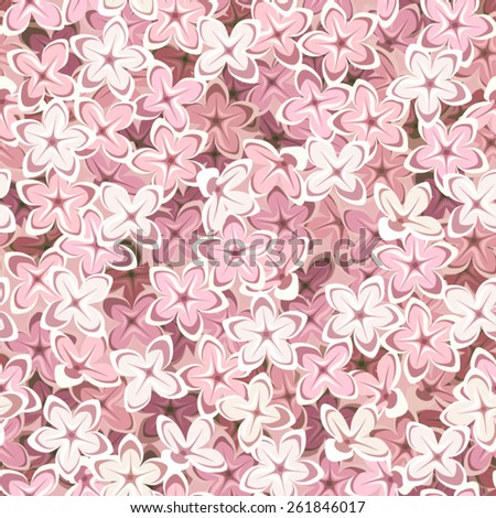Seamless background with pink lilac flowers. Vector illustration. - stock vector