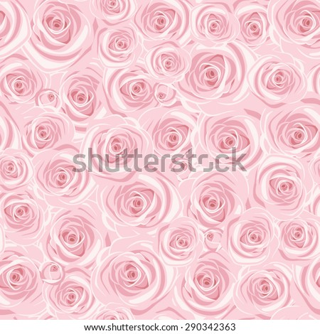 Seamless background with pink roses. Vector illustration. - stock vector