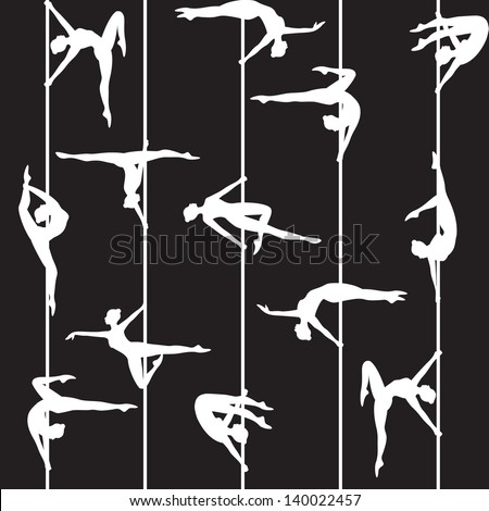 Seamless background with pole dancer silhouette - stock vector