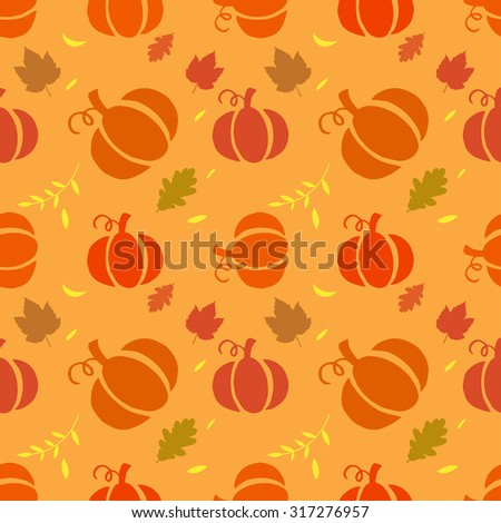 Seamless background with pumpkins on orange background. vector illustration - stock vector