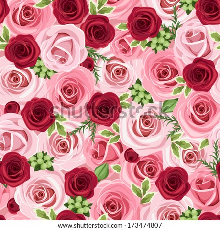 Seamless background with red and pink roses. Vector illustration. - stock vector