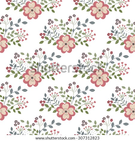 Seamless background with red flowers on a white backgroun - stock vector