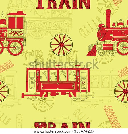 Seamless background with red locomotive and passenger wagon on yellow. Doodle line art with hand drawn design elements - stock vector