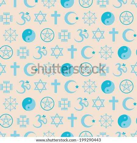 Seamless background with religious symbols - stock vector