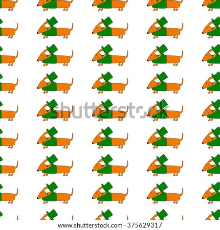 Seamless background with repeating cute dachshund in emerald hat and jersey. Textile, wrapping paper, wallpaper, boxes decoration, other packing elements template - stock vector