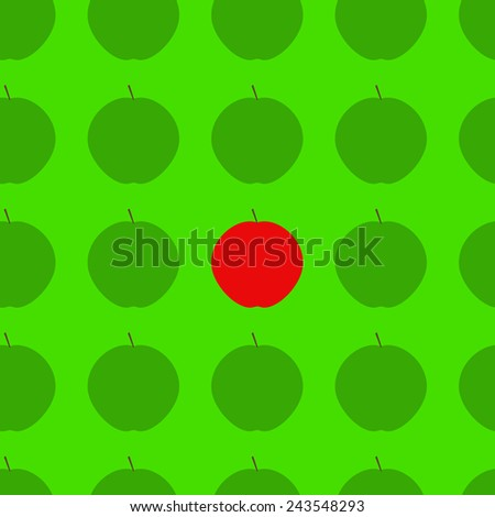 Seamless background with ripe juicy green apples and red apple among them isolated on bright green background. For wallpaper, wrapping paper, textile decoration. Concept of uniqueness - stock vector