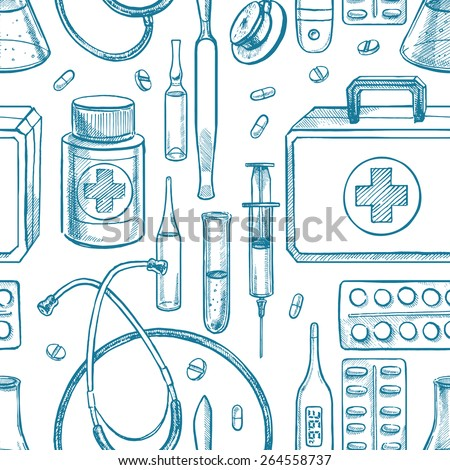 seamless background with sketch medical supplies. hand-drawn illustration - stock vector