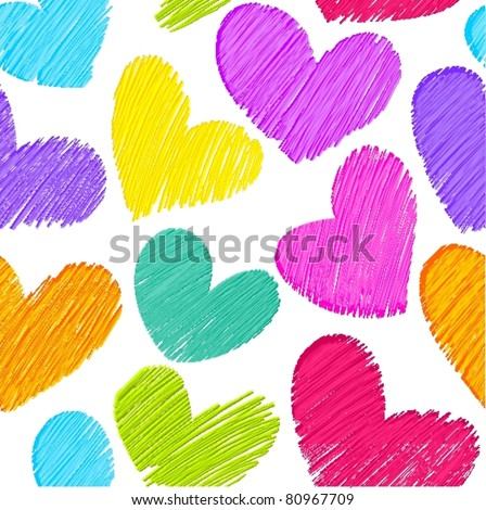 Seamless background with sketchy hearts - stock vector