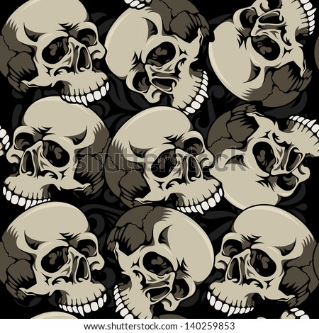 Seamless background with skulls. Vector illustration - stock vector