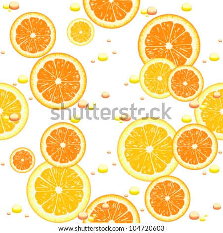 Seamless background with slices of orange - stock vector