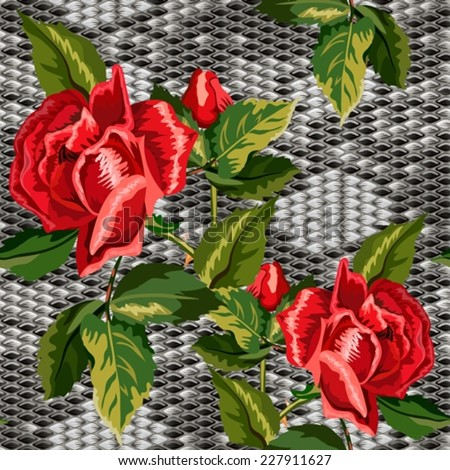 Seamless background with snake skin and flowers of roses - stock vector
