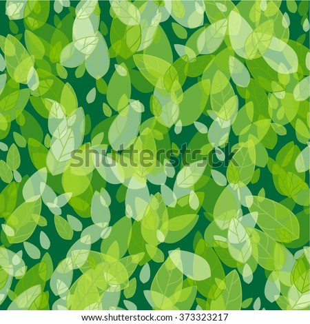 Seamless background with spring green leaves. Vector illustration - stock vector