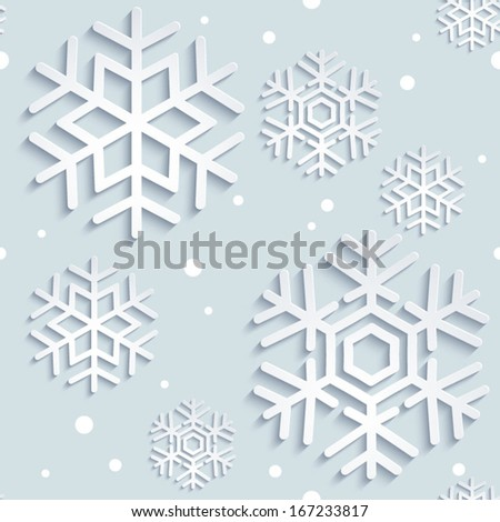 Seamless background with stylized Christmas 3d snowflakes. Christmas. New Year background illustration. Holiday design. Winter. Backdrop.. EPS 10 vector. - stock vector