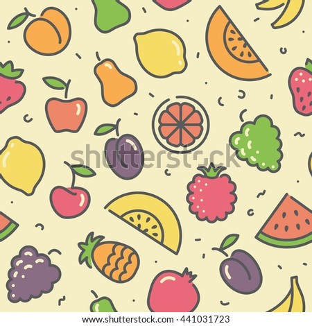 Seamless background with stylized illustrations of fruits and berries - stock vector