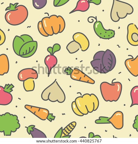 Seamless background with stylized illustrations of the vegetables and avocado - stock vector