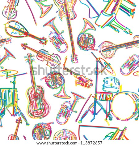 Seamless background with stylized musical instruments - stock vector
