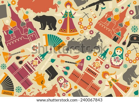 Seamless background with symbols of Russia - stock vector